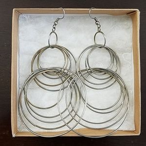 Jewelry - Large silver hoop dangly earrings